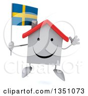 Clipart Of A 3d Happy White House Character Holding A Swedish Flag And Jumping Royalty Free Illustration
