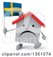 Clipart Of A 3d Unhappy White House Character Holding A Swedish Flag And Walking Royalty Free Illustration