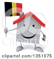 Clipart Of A 3d Happy White House Character Holding A Belgian Flag Royalty Free Illustration by Julos