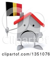 Clipart Of A 3d Unhappy White House Character Holding And Pointing To A Belgian Flag Royalty Free Illustration by Julos