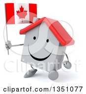 Clipart Of A 3d Happy White House Character Holding A Canadian Flag And Walking Royalty Free Illustration