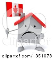 Clipart Of A 3d Unhappy White House Character Holding And Pointing To A Canadian Flag Royalty Free Illustration