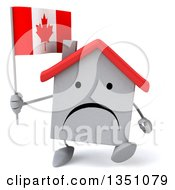 Clipart Of A 3d Unhappy White House Character Holding A Canadian Flag And Walking Royalty Free Illustration