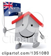 Clipart Of A 3d Happy White House Character Holding An Australian Flag And Walking Royalty Free Illustration