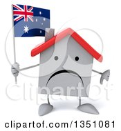 Clipart Of A 3d Unhappy White House Character Holding An Australian Flag And Giving A Thumb Down Royalty Free Illustration
