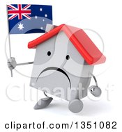 Clipart Of A 3d Unhappy White House Character Holding An Australian Flag And Walking Royalty Free Illustration