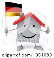 Clipart Of A 3d Happy White House Character Holding A German Flag And Giving A Thumb Up Royalty Free Illustration