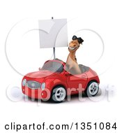 Clipart Of A 3d Brown Horse Wearing Sunglasses Holding A Blank Sign And Driving A Red Convertible Car To The Left Royalty Free Illustration