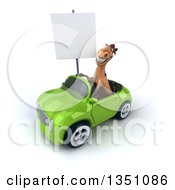 Clipart Of A 3d Brown Horse Holding A Blank Sign And Driving A Green Convertible Car To The Left Royalty Free Illustration
