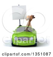 Clipart Of A 3d Brown Horse Holding A Blank Sign And Driving A Green Convertible Car Royalty Free Illustration