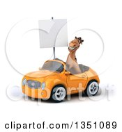 Clipart Of A 3d Brown Horse Holding A Blank Sign And Driving An Orange Convertible Car To The Left Royalty Free Illustration