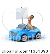 Clipart Of A 3d Brown Horse Holding A Blank Sign And Driving A Blue Convertible Car To The Left Royalty Free Illustration