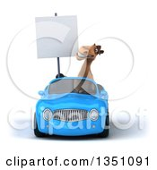 Clipart Of A 3d Brown Horse Holding A Blank Sign And Driving A Blue Convertible Car Royalty Free Illustration