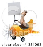 Clipart Of A 3d Brown Horse Aviator Pilot Holding A Blank Sign And Flying A Yellow Airplane To The Left Royalty Free Illustration