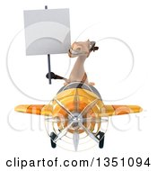 Clipart Of A 3d Brown Horse Aviator Pilot Holding A Blank Sign And Flying A Yellow Airplane Royalty Free Illustration