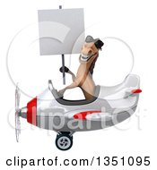 Clipart Of A 3d Brown Horse Aviator Pilot Wearing Sunglasses Holding A Blank Sign And Flying A White And Red Airplane To The Left Royalty Free Illustration