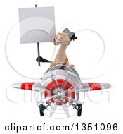 Clipart Of A 3d Brown Horse Aviator Pilot Wearing Sunglasses Holding A Blank Sign And Flying A White And Red Airplane Royalty Free Illustration