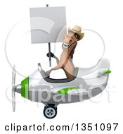 Clipart Of A 3d Brown Cowboy Horse Aviator Pilot Holding A Blank Sign And Flying A White And Green Airplane To The Left Royalty Free Illustration