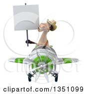 Clipart Of A 3d Brown Cowboy Horse Aviator Pilot Holding A Blank Sign And Flying A White And Green Airplane Royalty Free Illustration