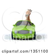 Clipart Of A 3d Brown Horse Driving A Green Convertible Car Royalty Free Illustration by Julos