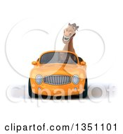 Clipart Of A 3d Brown Horse Driving An Orange Convertible Car Royalty Free Illustration by Julos