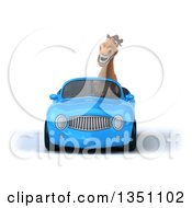 Clipart Of A 3d Brown Horse Driving A Blue Convertible Car Royalty Free Illustration