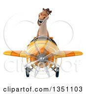 Clipart Of A 3d Brown Horse Aviator Pilot Flying A Yellow Airplane Royalty Free Illustration by Julos