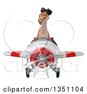 Clipart Of A 3d Brown Horse Aviator Pilot Wearing Sunglasses And Flying A White And Red Airplane Royalty Free Illustration by Julos