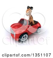 Clipart Of A 3d Brown Horse Wearing Sunglasses And Driving A Red Convertible Car To The Left Royalty Free Illustration