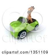 Clipart Of A 3d Brown Horse Driving A Green Convertible Car To The Left Royalty Free Illustration