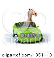 Clipart Of A 3d Brown Horse Driving A Green Convertible Car Royalty Free Illustration