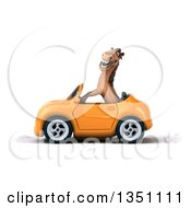 Clipart Of A 3d Brown Horse Driving An Orange Convertible Car To The Left Royalty Free Illustration