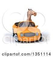 Clipart Of A 3d Brown Horse Driving An Orange Convertible Car Royalty Free Illustration