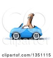 Clipart Of A 3d Brown Horse Driving A Blue Convertible Car To The Left Royalty Free Illustration
