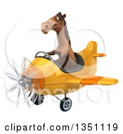Clipart Of A 3d Brown Horse Aviator Pilot Flying A Yellow Airplane To The Left Royalty Free Illustration