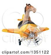 Clipart Of A 3d Brown Horse Aviator Pilot Flying A Yellow Airplane Royalty Free Illustration