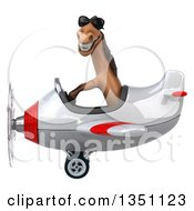 Clipart Of A 3d Brown Horse Aviator Pilot Wearing Sunglasses And Flying A White And Red Airplane To The Left Royalty Free Illustration