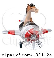 Clipart Of A 3d Brown Horse Aviator Pilot Wearing Sunglasses And Flying A White And Red Airplane Royalty Free Illustration