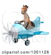 Clipart Of A 3d Brown Horse Aviator Pilot Flying A Blue Airplane To The Left Royalty Free Illustration