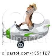 Clipart Of A 3d Brown Cowboy Horse Aviator Pilot Flying A White And Green Airplane To The Left Royalty Free Illustration