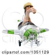 Clipart Of A 3d Brown Cowboy Horse Aviator Pilot Flying A White And Green Airplane Royalty Free Illustration