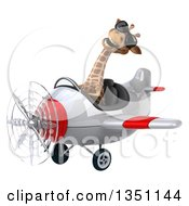 Clipart Of A 3d Giraffe Aviator Pilot Wearing Sunglasses And Flying A White And Red Airplane To The Left Royalty Free Illustration