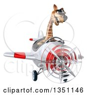 Clipart Of A 3d Giraffe Aviator Pilot Wearing Sunglasses And Flying A White And Red Airplane Royalty Free Illustration