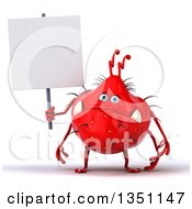 Clipart Of A 3d Red Germ Monster Holding A Blank Sign Royalty Free Illustration by Julos