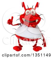 Clipart Of A 3d Red Germ Virus Wearing A White T Shirt Giving A Thumb Up Royalty Free Illustration by Julos