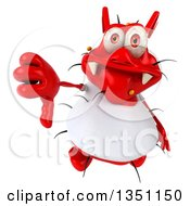 Clipart Of A 3d Red Germ Virus Wearing A White T Shirt Holding Up A Thumb Down Royalty Free Illustration by Julos