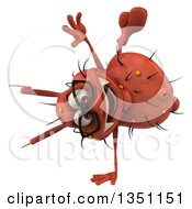 Clipart Of A 3d Bespectacled Red Germ Virus Cartwheeling Royalty Free Illustration