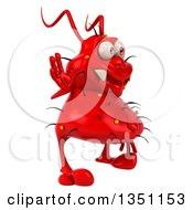 Clipart Of A 3d Red Germ Virus Facing Right And Waving Royalty Free Illustration