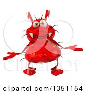 Clipart Of A 3d Red Germ Virus Shrugging Royalty Free Illustration