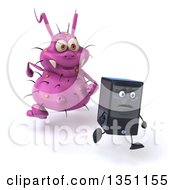 Clipart Of A 3d Purple Germ Virus Monster Chasing A Computer Tower Royalty Free Illustration by Julos